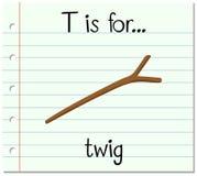Flashcard-Buchstabe T ist für Zweig stock abbildung