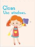 Flashcard de verbe d'action avec des fenêtres de nettoyage de fille illustration libre de droits