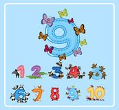 Flashcard design for number nine with butterflies royalty free illustration