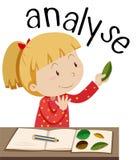 Flashcard dla słowa analizuje z dziewczyną patrzeje liście ilustracja wektor