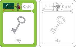Flashcard letter K. Flashcard for English language - letter K is for key Royalty Free Stock Image