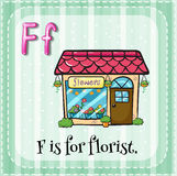Flashcard of F is for florist Stock Photography