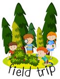 Flashcard for field trip with kids learning in garden. Illustration Royalty Free Stock Photo