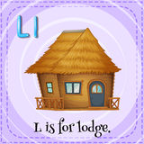 Flashcard of L is for lodge Royalty Free Stock Image