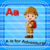 Flashcard letter A is for adventurer. Illustration of Flashcard letter A is for adventurer Royalty Free Stock Photography