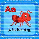 Flashcard letter A is for ant vector illustration