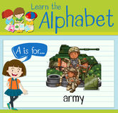 Flashcard letter A is for army Stock Photos