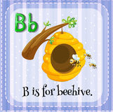 Flashcard letter B is for beehive. Illustration Royalty Free Stock Image