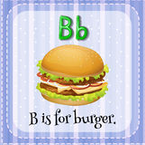 Flashcard letter B is for burger Stock Photography