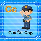 Flashcard letter C is for cop. Illustration of Flashcard letter C is for cop Stock Images
