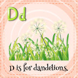 Flashcard letter D is for dandelions Stock Images