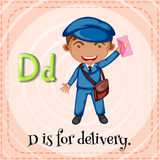 Flashcard letter D is for delivery Stock Photos