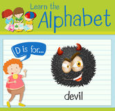 Flashcard letter D is for devil Stock Photo