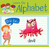 Flashcard letter D is for devil Royalty Free Stock Photography