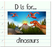 Flashcard letter D is for dinosaurs Stock Image