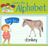 Flashcard letter D is for donkey Stock Photography