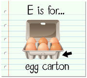 Flashcard letter E is for egg carton Royalty Free Stock Photography
