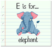 Flashcard letter E is for elephant. Illustration Stock Photos
