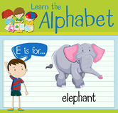Flashcard letter E is for elephant. Illustration Royalty Free Stock Photos