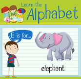 Flashcard letter E is for elephant. Illustration Stock Photo
