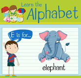 Flashcard letter E is for elephant. Illustration Royalty Free Stock Photography
