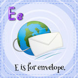 Flashcard letter E is for envelope Stock Images