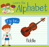Flashcard letter F is for fiddle. Illustration Stock Images
