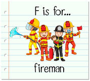 Flashcard letter F is for fireman. Illustration Stock Photo