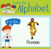 Flashcard letter F is for fireman. Illustration Stock Image