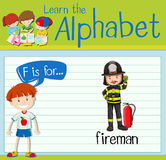Flashcard letter F is for fireman. Illustration Stock Photography