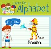 Flashcard letter F is for fireman. Illustration Stock Images