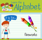 Flashcard letter F is for fireworks. Illustration Stock Photo