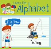 Flashcard letter F is for fishing Stock Image