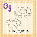 Flashcard letter G is for gears Stock Photos