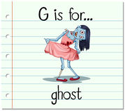 Flashcard letter G is for ghost Stock Image