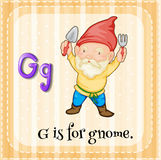 Flashcard letter G is for gnome Stock Photography
