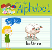 Flashcard letter H is for herbivore Stock Image