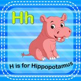 Flashcard letter H is for hippo. Illustration of Flashcard letter H is for hippo stock illustration