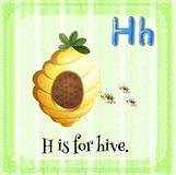 Flashcard letter H is for hive. Illustration stock illustration