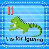 Flashcard letter I is for iguana royalty free illustration