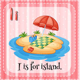 Flashcard letter I is for island Royalty Free Stock Photography