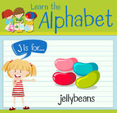 Flashcard letter J is for jellybeans Stock Photos