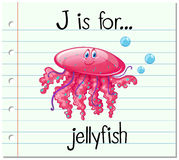Flashcard letter J is for jellyfish Royalty Free Stock Photography