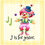 Flashcard letter J is for jester Royalty Free Stock Image