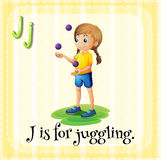 Flashcard letter J is for juggling Royalty Free Stock Image