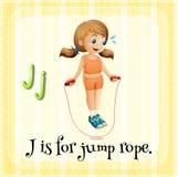 Flashcard letter J is for jump rope vector illustration