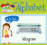 Flashcard letter K is for kilogram Royalty Free Stock Images
