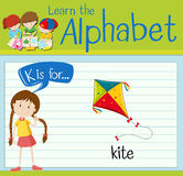 Flashcard letter K is for kite Stock Images