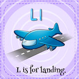 Flashcard letter L is for landing Stock Image