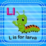Flashcard letter L is for larva. Illustration of Flashcard letter L is for larva Royalty Free Stock Image